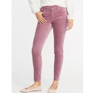Mauve Mid-Rise Rockstar Super Skinny Velvet Pants